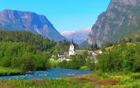 fiord: The Countryside of Norway on a Summer Day        Stock Photo