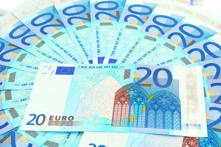 20 euro: Banknotes in the 20 euro isolated on white background                             Stock Photo