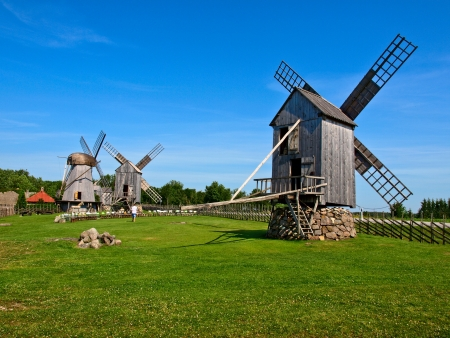 Old wooden windmills - Ethnographic Museum in Lithuania photo