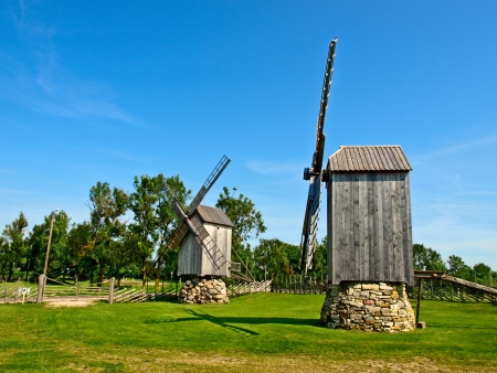 ethnographic: Old wooden windmills - Ethnographic Museum in Lithuania