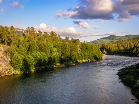Mountain river in a wooded area of Norway