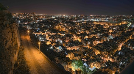 rajasthan: Night shot from elevation of Jodhpur city in Rajasthan