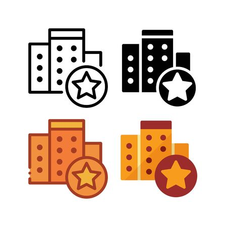 Favorite hotel icon. With outline, glyph, filled outline and flat style 向量圖像