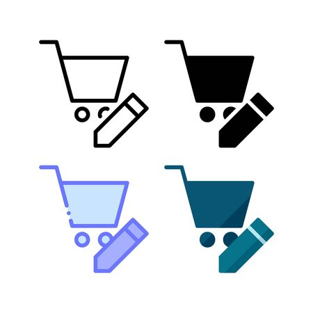 Shopping cart edit icon. With outline, glyph, filled outline and flat style