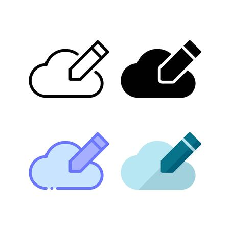 Cloud edit icon. With outline, glyph, filled outline and flat style Illustration