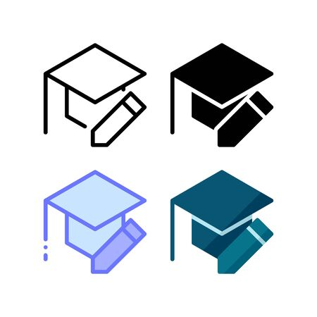 Educational edit icon. With outline, glyph, filled outline and flat style