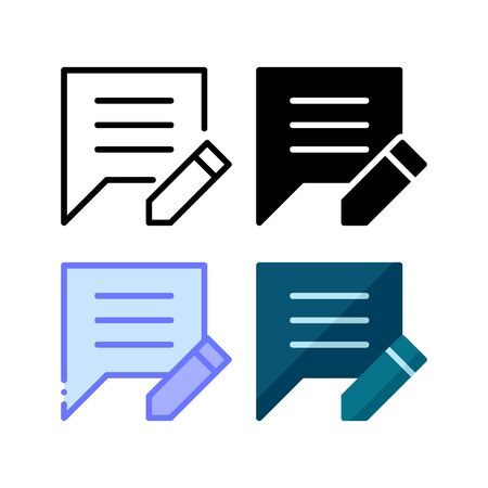 Edit comment icon. With outline, glyph, filled outline and flat style Illustration