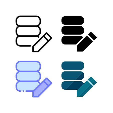 Database edit icon. With outline, glyph, filled outline and flat style Illustration