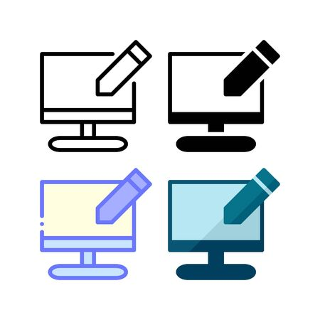 Desktop edit icon. With outline, glyph, filled outline and flat style Illustration