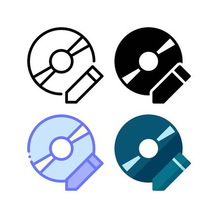Disc edit icon. With outline, glyph, filled outline and flat style