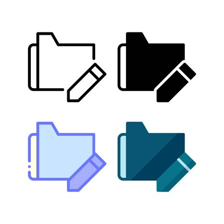 Folder edit icon. With outline, glyph, filled outline and flat style