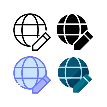 Edit web network icon. With outline, glyph, filled outline and flat style Illustration