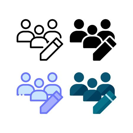 Group edit icon. With outline, glyph, filled outline and flat style Illustration