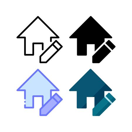 Home edit icon. With outline, glyph, filled outline and flat style