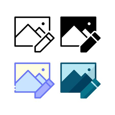 Image edit icon. With outline, glyph, filled outline and flat style Illustration