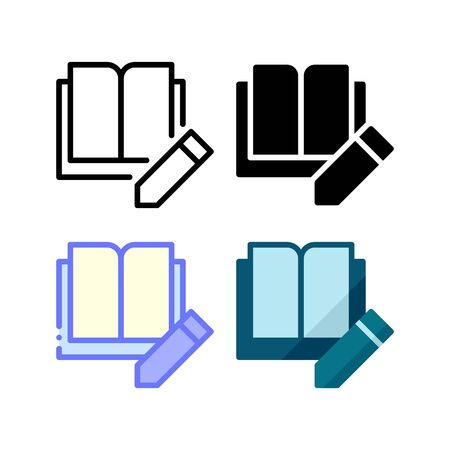 Edit book page icon. With outline, glyph, filled outline and flat style