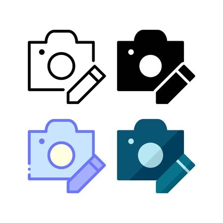 Photo editing icon. With outline, glyph, filled outline and flat style