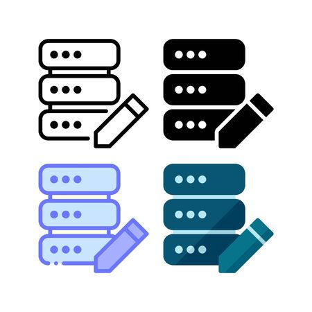 Server edit icon. With outline, glyph, filled outline and flat style
