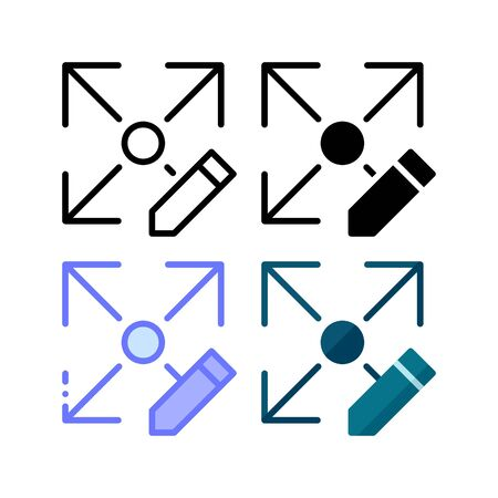 Size edit icon. With outline, glyph, filled outline and flat style Çizim