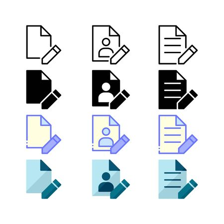 Edit file, edit profile, and edit text icons. With outline, glyph, filled outline and flat style