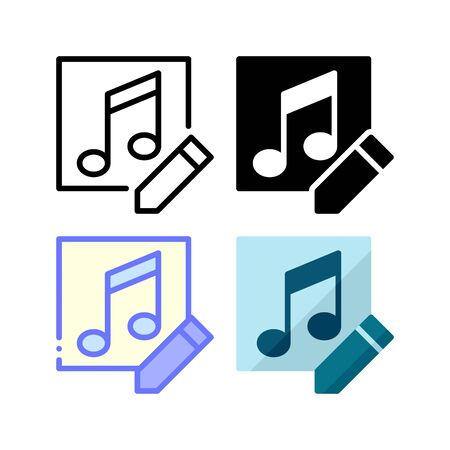 Edit audio file icon. With outline, glyph, filled outline and flat style Illustration