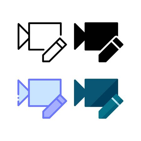 Video edit icon. With outline, glyph, filled outline and flat style