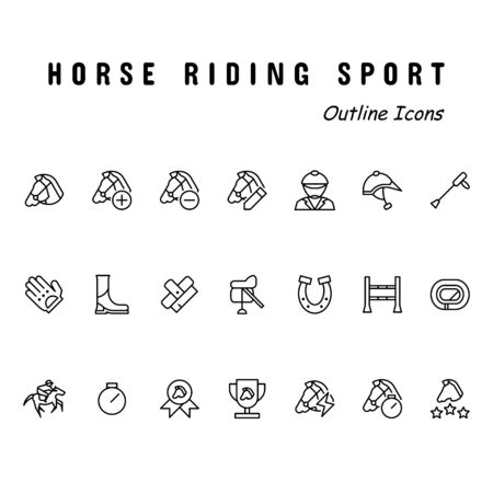 A set of icons contains horse riding. Outline style