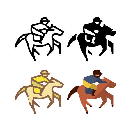 Horse racing icon. With outline, glyph, filled outline and flat style