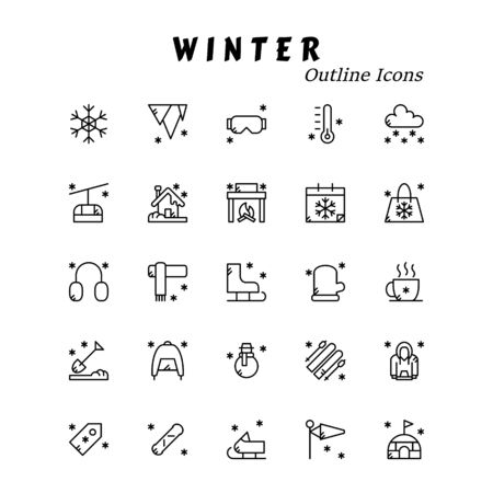 A set of winter themed icons. Outline style