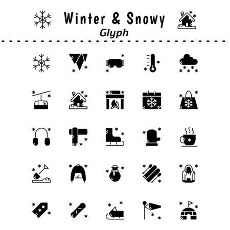 A set of winter and snow-themed icons. With glyph style