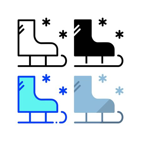 Ski shoe icon. With outline, glyph, filled outline and flat style Ilustração