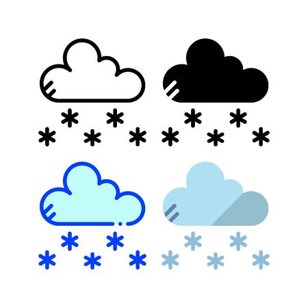 Snowfall icon. With outline, glyph, filled outline and flat style