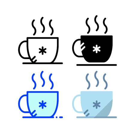 Winter coffee icon. With outline, glyph, filled outline and flat style Ilustração