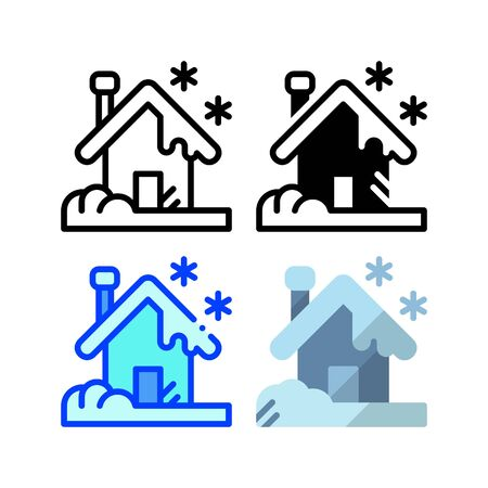 Snowy house icon. With outline, glyph, filled outline and flat style  イラスト・ベクター素材