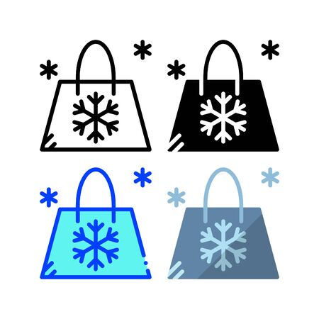 Winter shopping bag icon. With outline, glyph, filled outline and flat style