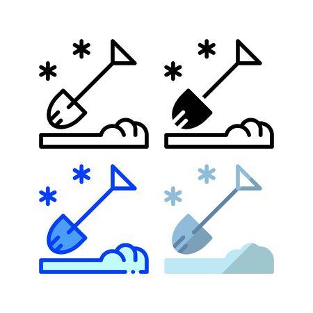 Icône de pelle à neige. Avec contour, glyphe, contour rempli et style plat