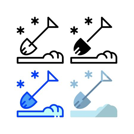 Snow shovel icon. With outline, glyph, filled outline and flat style Çizim