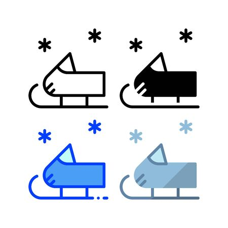 Snow sled icon. With outline, glyph, filled outline and flat style Ilustração