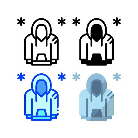 Winter sweater icon. With outline, glyph, filled outline and flat style Иллюстрация