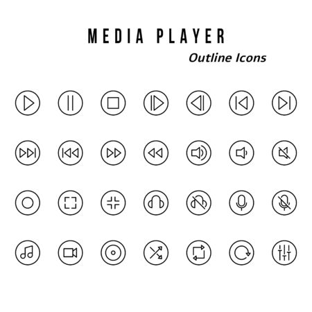 A set of media player badge icons. With glyph style Illusztráció