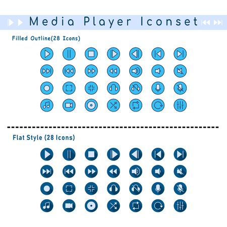 Two sets of media player badge icons. With filled outline and flat style Illusztráció