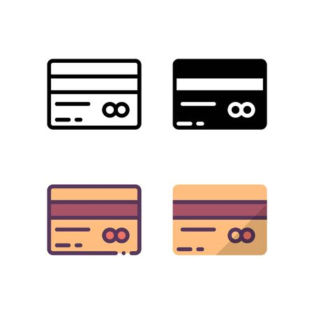 Payment card icon. With outline, glyph, filled outline and flat style. Иллюстрация