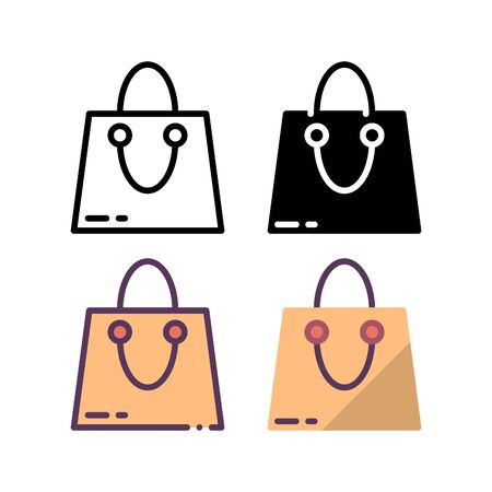 Shopping bag icon. With outline, glyph, filled outline and flat style. Ilustracja