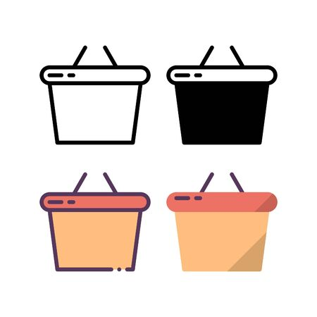Shopping basket icon. With outline, glyph, filled outline and flat style.