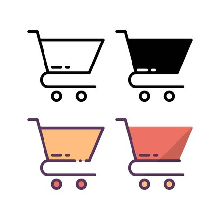 Shopping cart icon. With outline, glyph, filled outline and flat style. Illusztráció