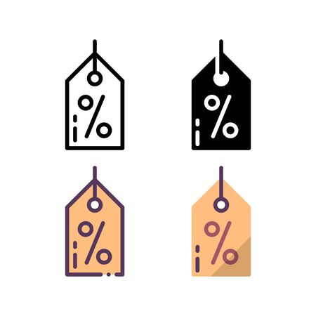 Discounted price icon. With outline, glyph, filled outline and flat style.