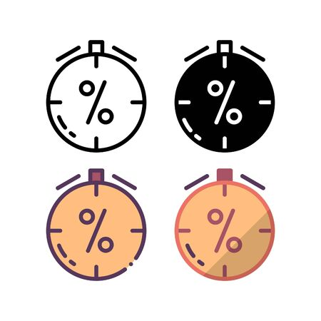 Promo timeout icon. With outline, glyph, filled outline and flat style. Ilustração