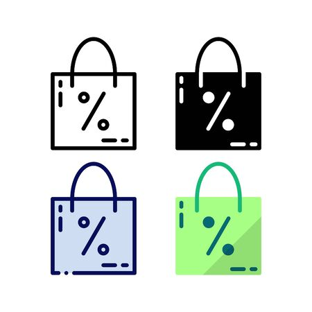 Shopping promo icon. With outline, glyph, filled outline and flat style.