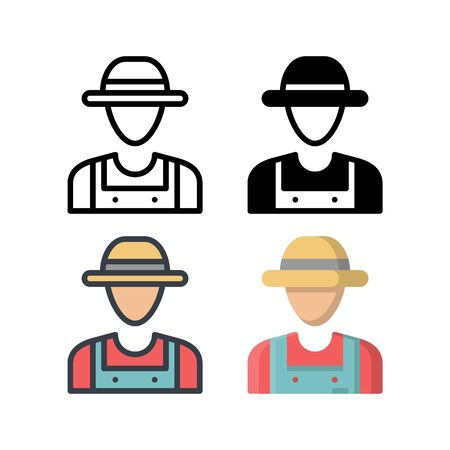 Farmer's avatar icon. With outline, glyph, filled outline and flat style