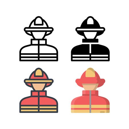 Firefighter avatar icon. With outline, glyph, filled outline and flat style